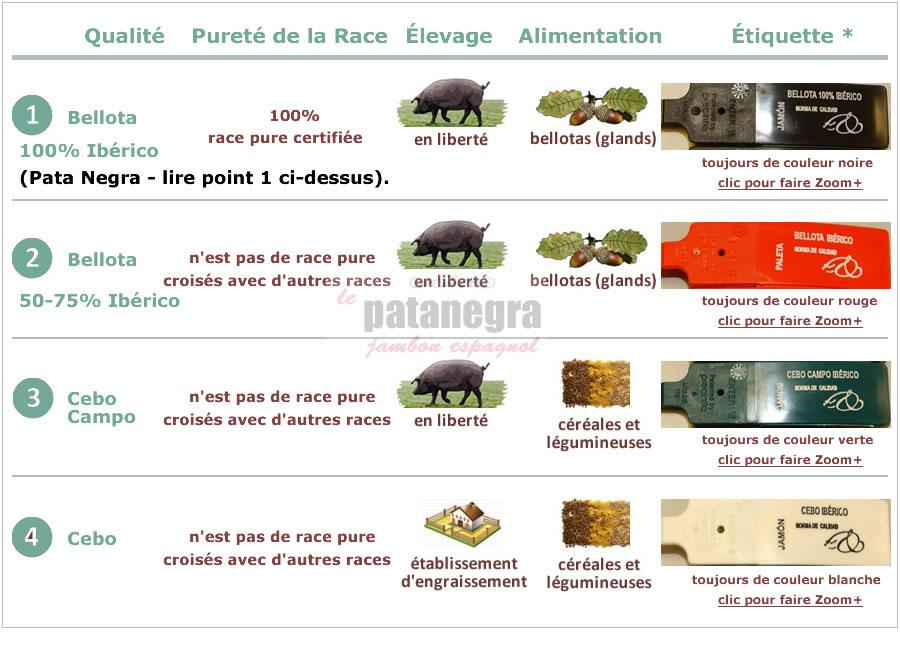 Types et qualités du Jambon Ibérique Pata Negra Espagnol